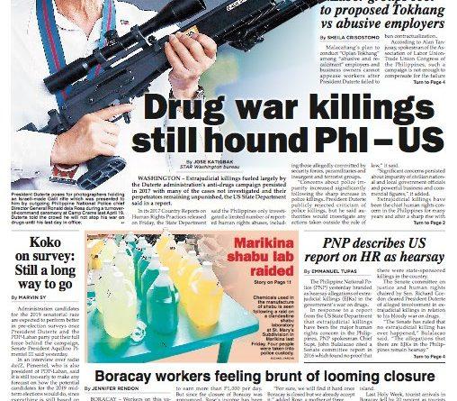 ASEANEWS' HEADLINE:  WASHINGTON –  'Drug war killings still hound Philippines – US'  Sunday, April 22, 2018