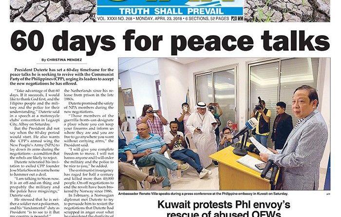 ASEANEWS' HEADLINE: WASHINGTON – '60 days for peace talks' Monday, April 23, 2018