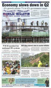 ASEANEWS HEADLINE: MANILA – Economy slows down to 6% in