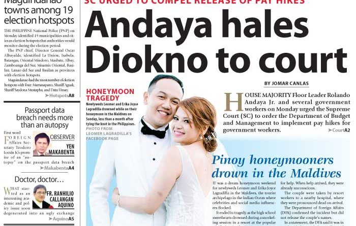 Aseanews Headlines: MANILA- SC URGED TO COMPEL RELEASE OF PAY HIKES – Andaya hales Diokno to court