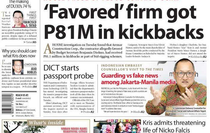 Aseanews Headlines: MANILA- 'Favored' firm got P81M in kickbacks