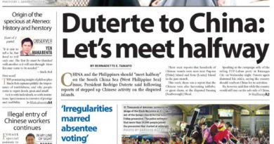 HEADLINES : MANILA – Duterte to China: Let's meet halfway