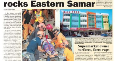 HEADLINES : MANILA –  Magnitude 6.5 quake rocks Eastern Samar