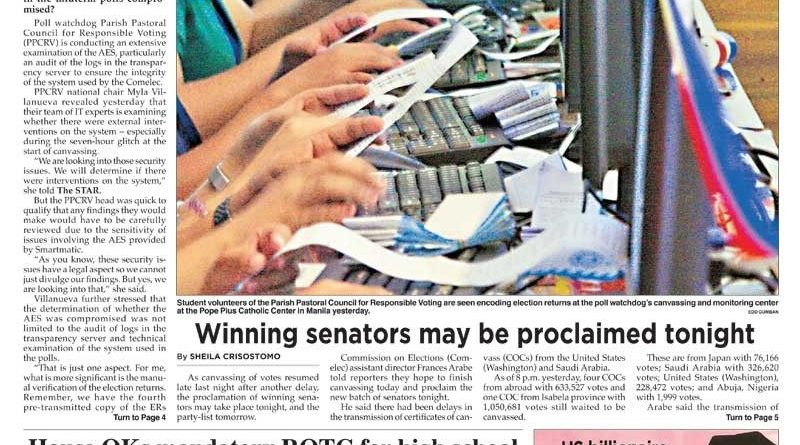 HEADLINES : MANILA –'Not today': Comelec halts proclamation of winning senators, party-lists anew