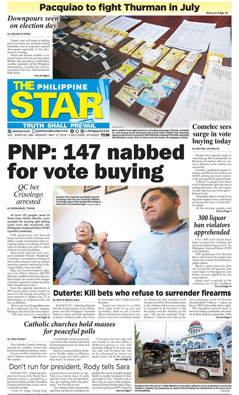 HEADLINES : MANILA – PNP: 147 arrested for vote buying