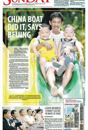ASEANEWS FRONT PAGES: China boat did it, says Beijing