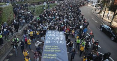 ASIA-HONG KONG- '800,000 marchers' flooded Hong Kong's commercial heart on Sunday to mark six months of their fight against the government