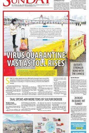 TRENDING: WUHAN VIRUS-  Virus quarantine vast as toll rises